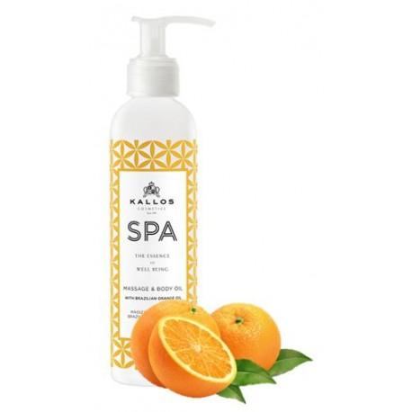 Kallos SPA masážní a tělový olej s olejem z brazilského pomeranče 200 ml - Kallos Spa Massage And Body Oil