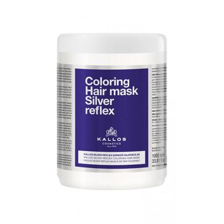Kallos stříbrná maska proti žlutému nádechu vlasů 1000 ml - Kallos Coloring Hair Mask Silver Reflex