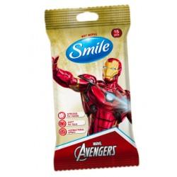 SMILE ubrousky vlhčené dětské Avengers 15 ks s antibakteriálním efektem